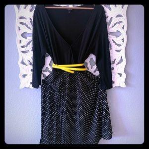 Torrid Long Sleeve Polka Dot Dress